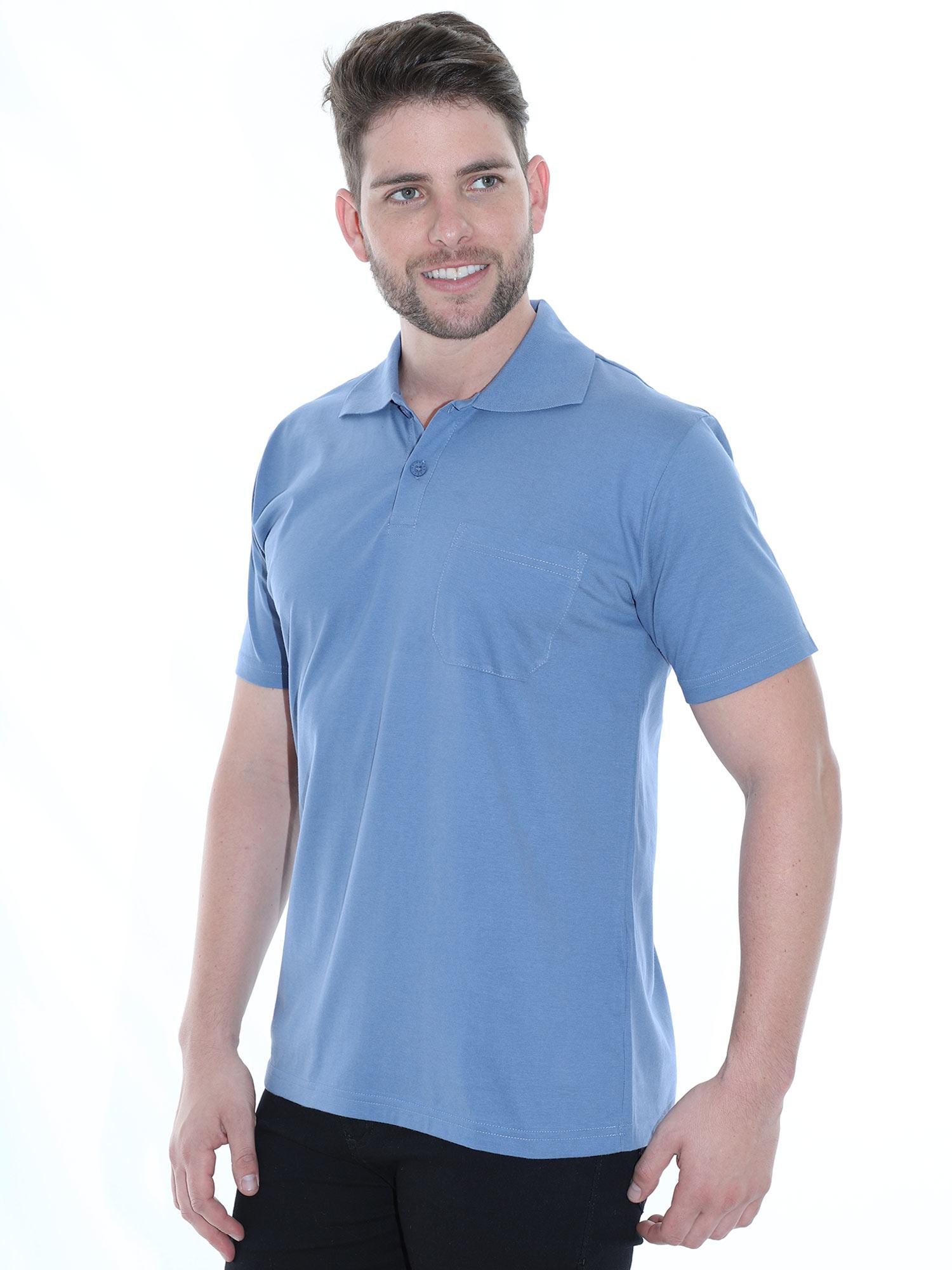 Camisa Polo Masculina com Bolso Básica Algodão Lisa Indigo