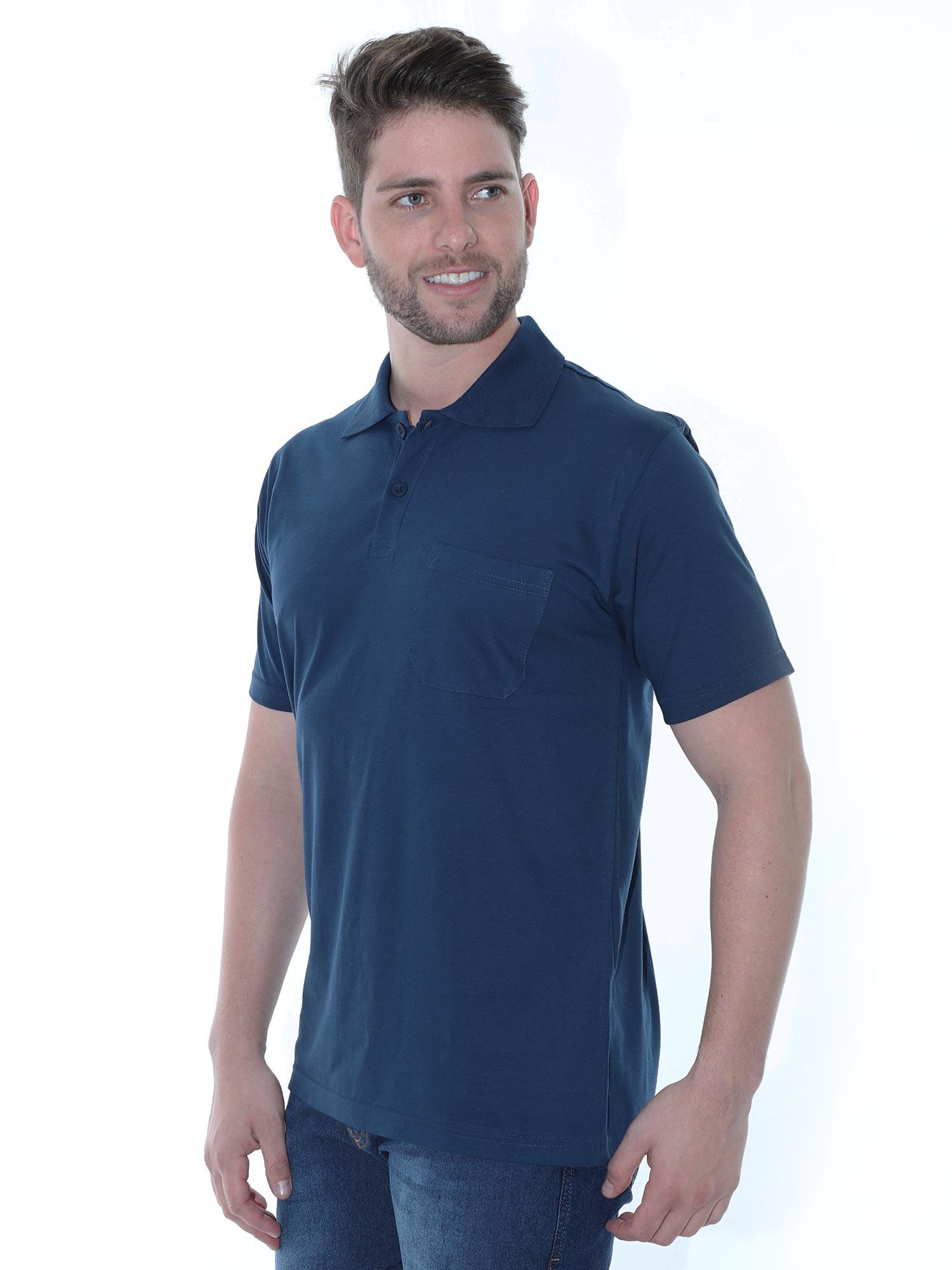 Camisa Polo Masculina com Bolso Básica Algodão Lisa Marinho