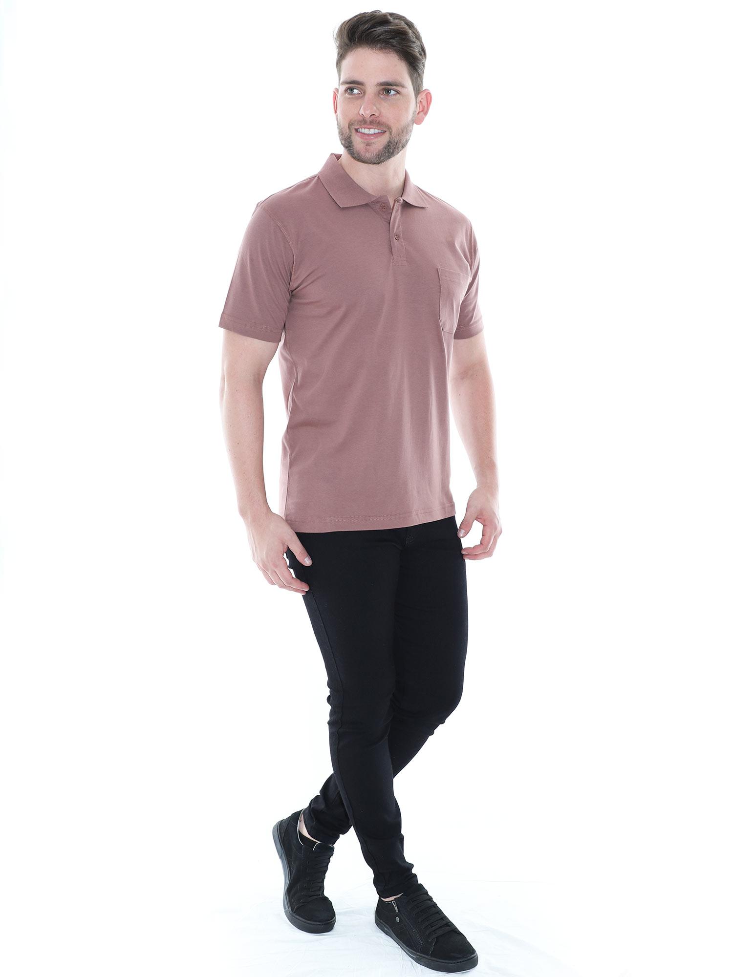 Camisa Polo Masculina com Bolso Básica Algodão Lisa Marrom