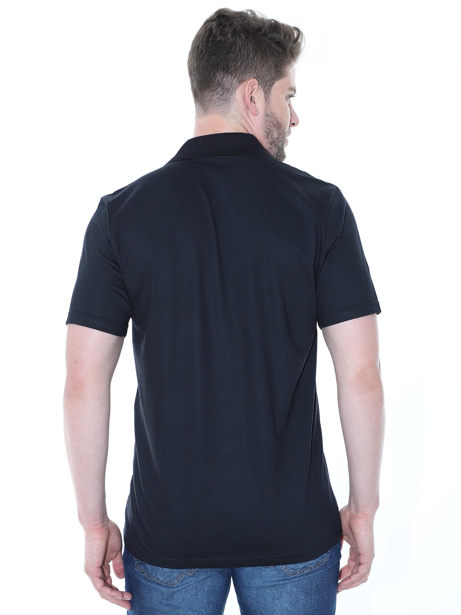 Camisa Polo Masculina com Bolso Básica Algodão Lisa Preta