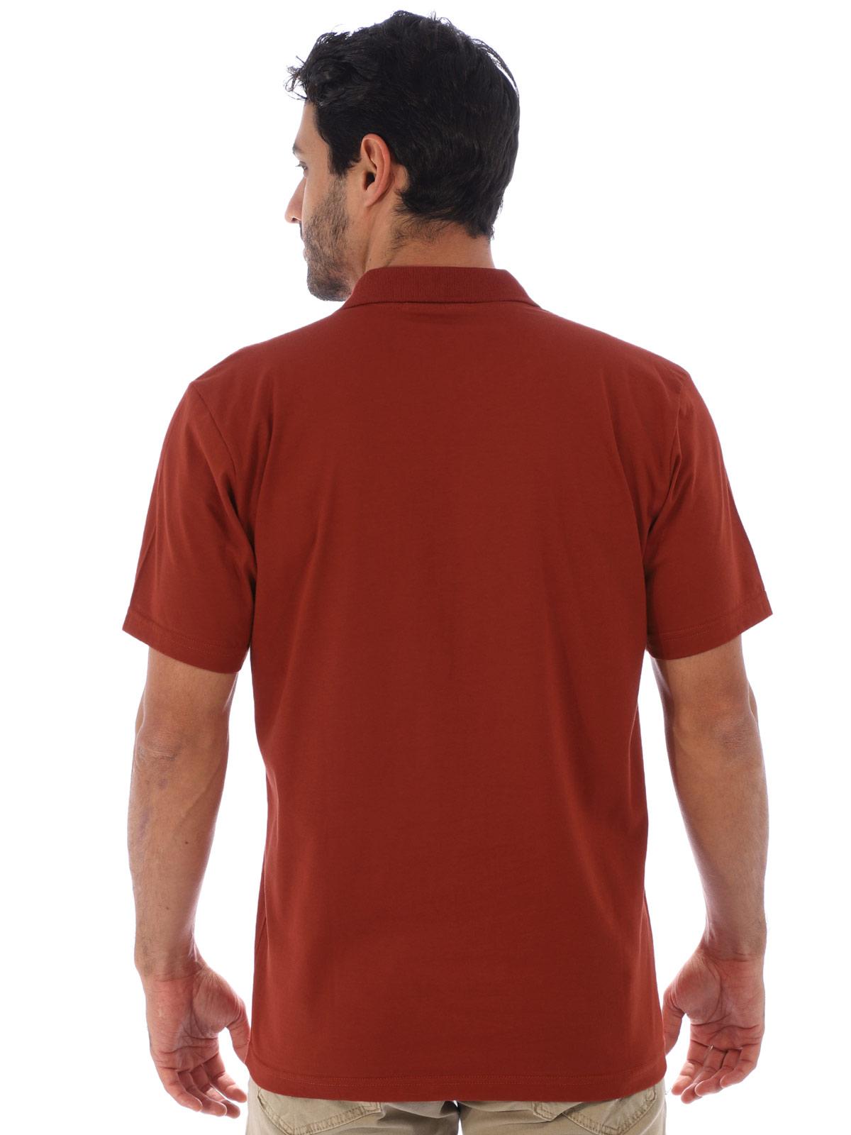 Camisa Polo Masculina com Bolso Básica Algodão Lisa Tijolo