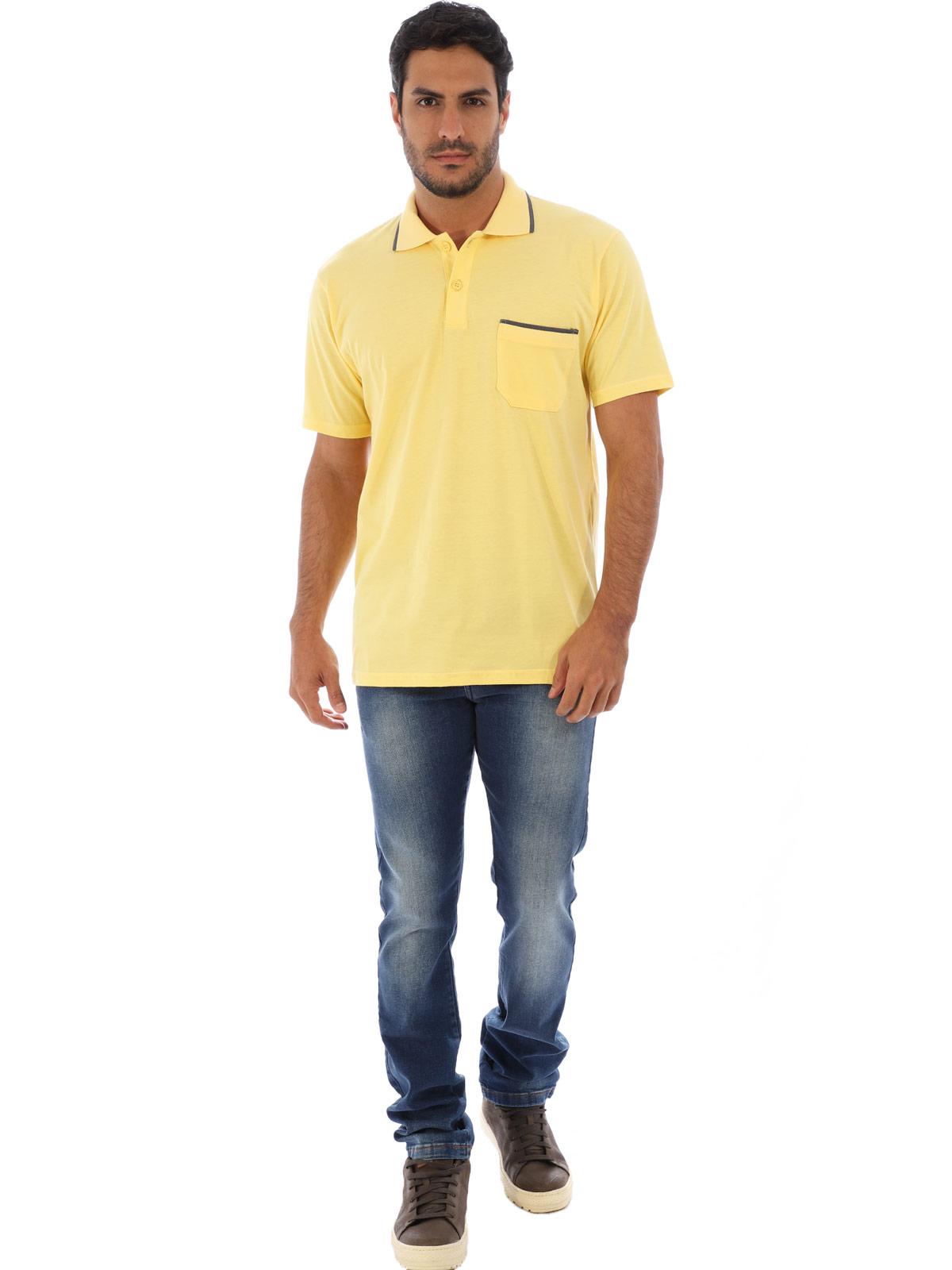 Camisa Polo Masculina com Bolso Retilínea Algodão Amarelo