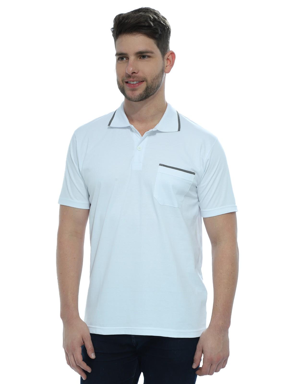 Camisa Polo Masculina com Bolso Retilínea Algodão Branco