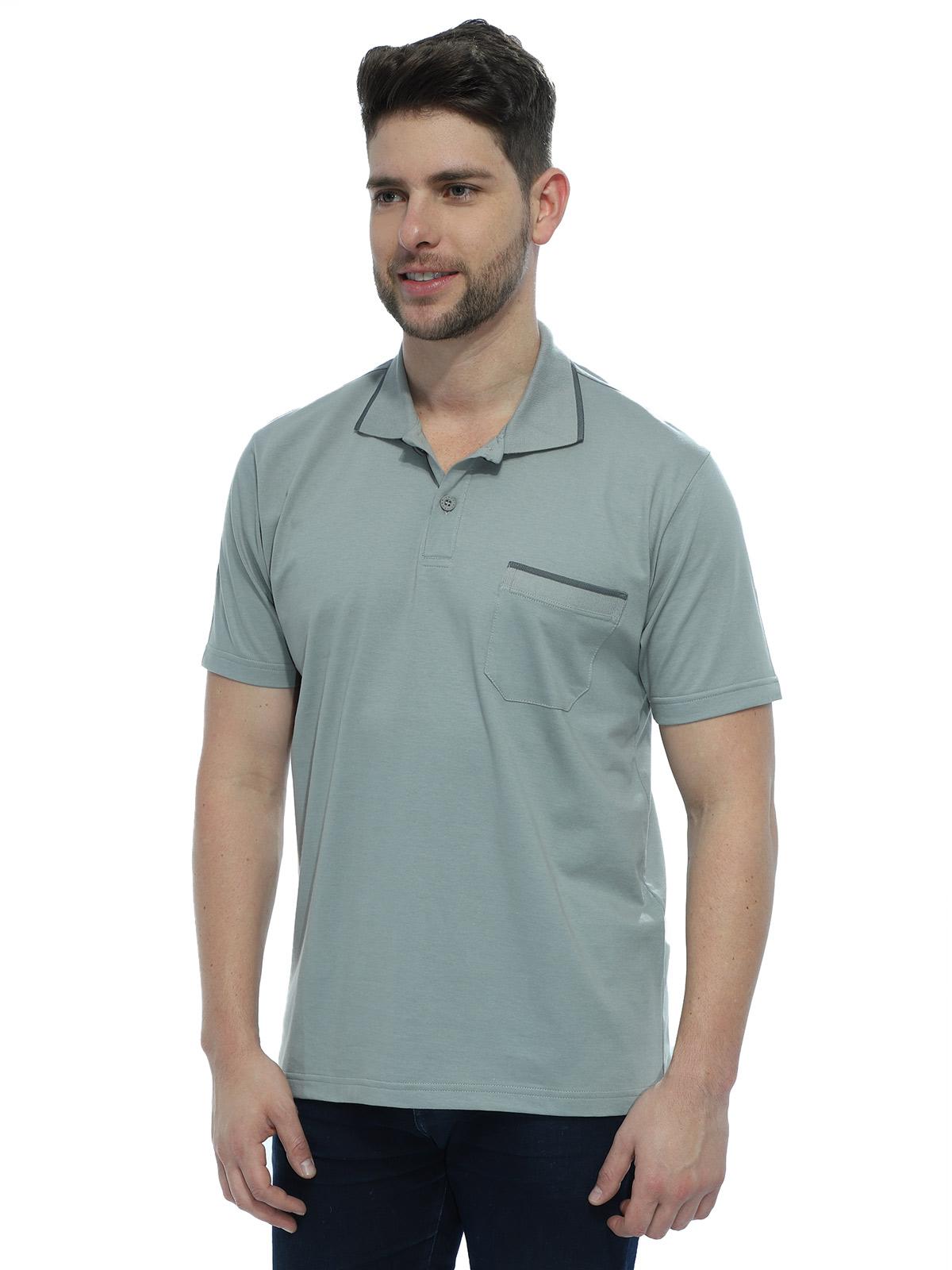 Camisa Polo Masculina com Bolso Retilínea Algodão Cinza