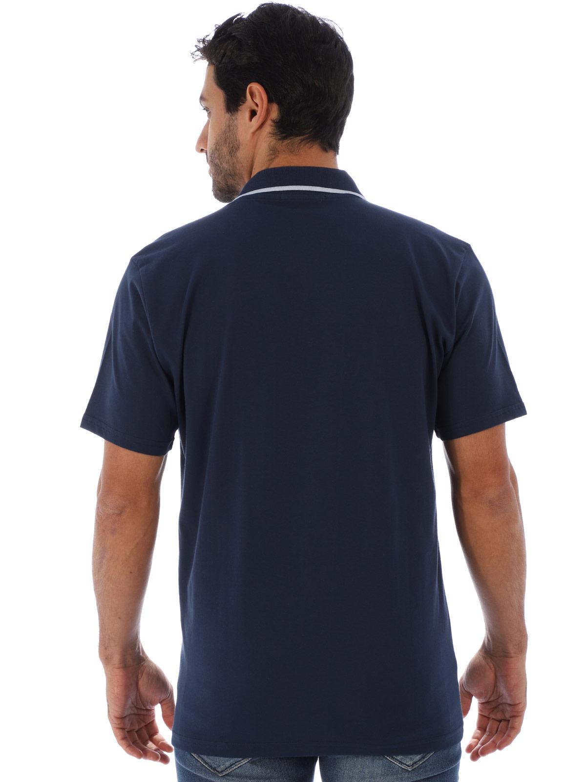 Camisa Polo Masculina com Bolso Retilínea Algodão Marinho