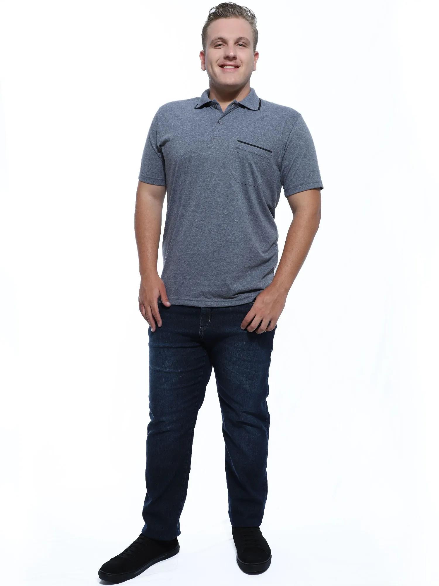 Camisa Polo Masculina com Bolso Retilínea Algodão Mescla