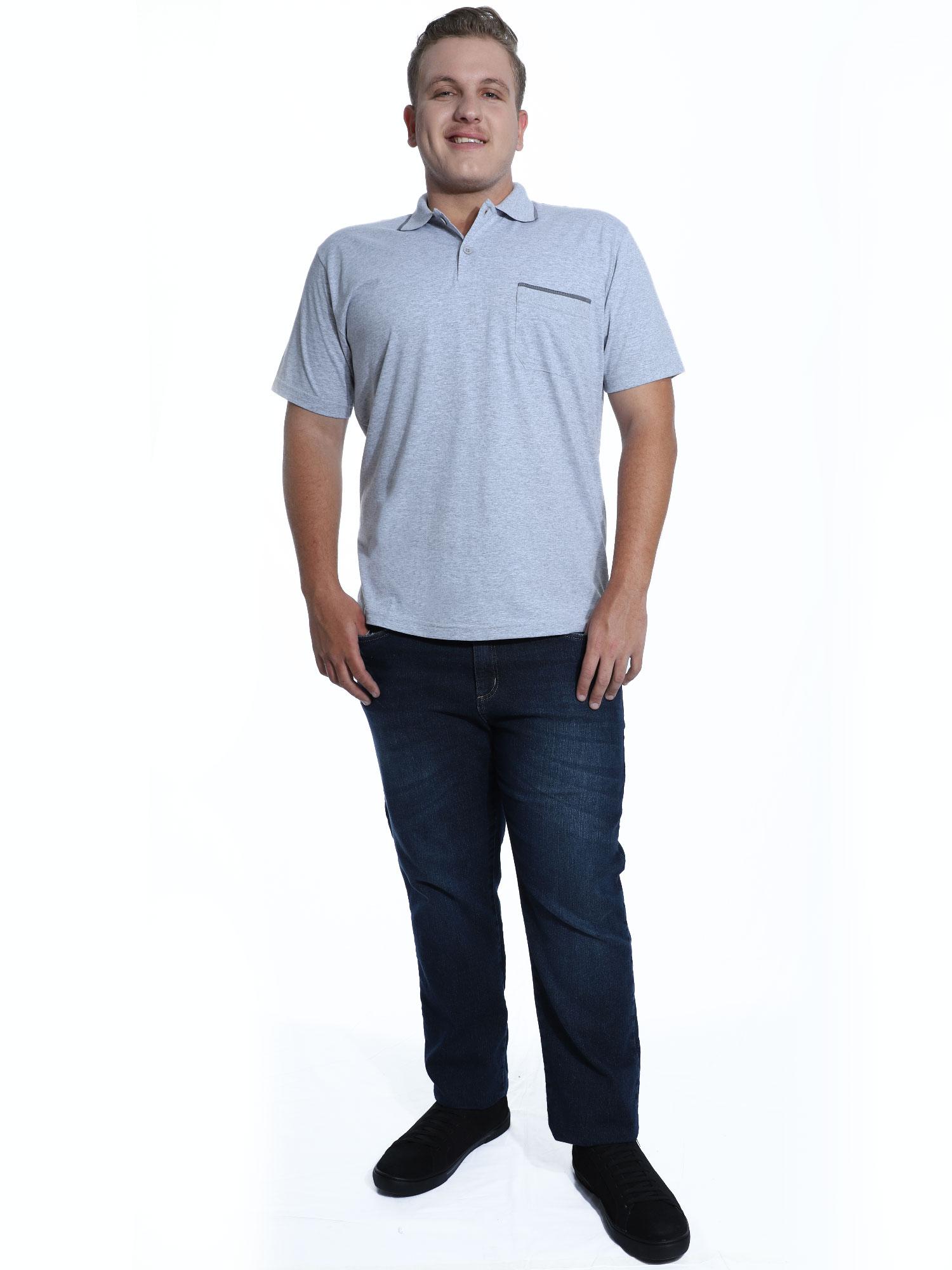 Camisa Polo Masculina com Bolso Retilínea Algodão Mescla Cl