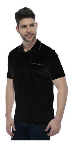 Camisa Polo Masculina com Bolso Retilínea Algodão Preto