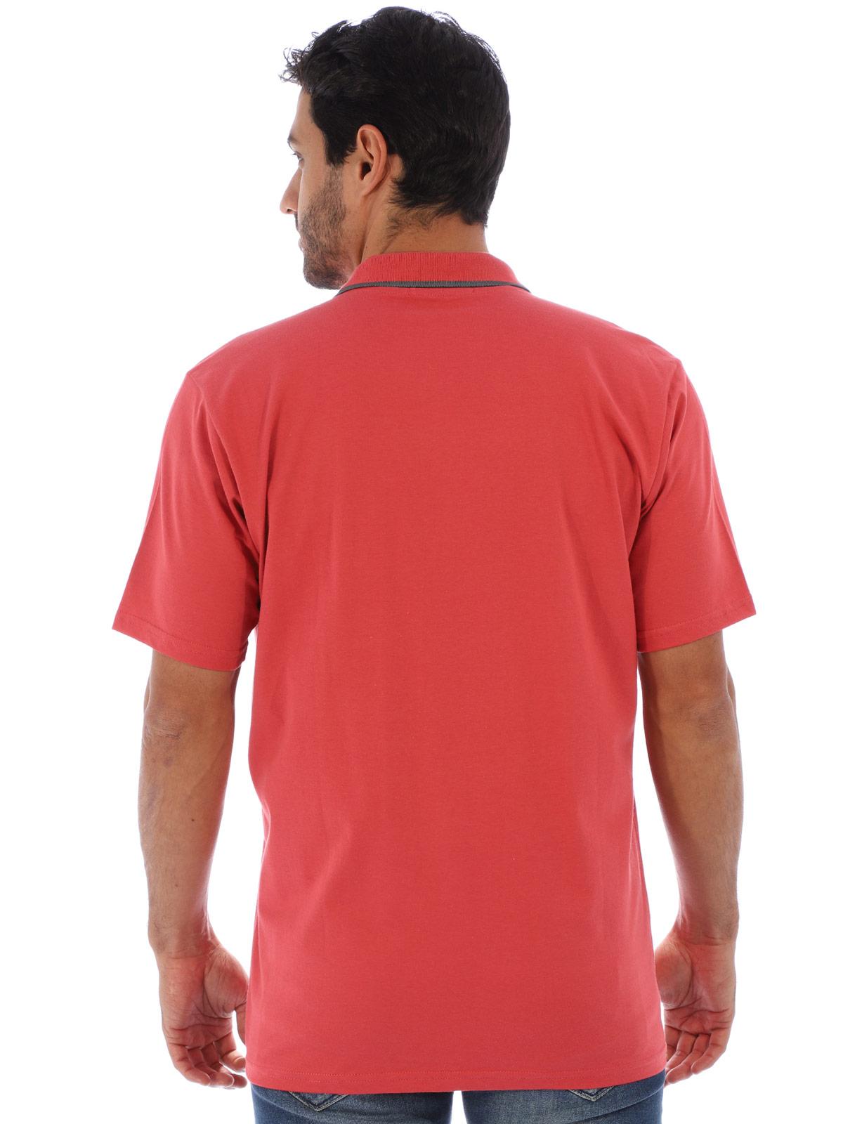 Camisa Polo Masculina com Bolso Retilínea Algodão Vermelho
