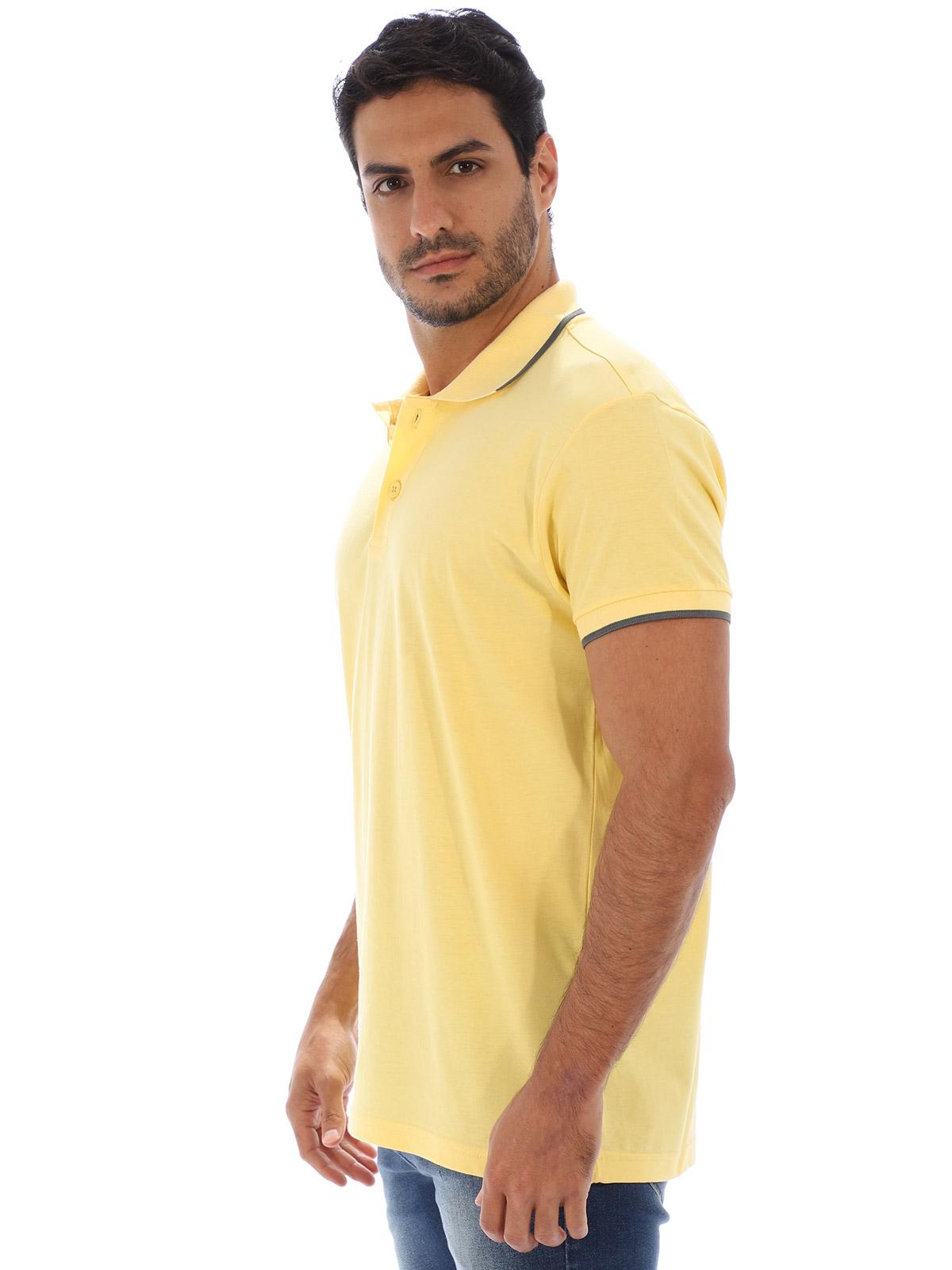 Camisa Polo Masculina Lisa Com Punho Filete Amarela