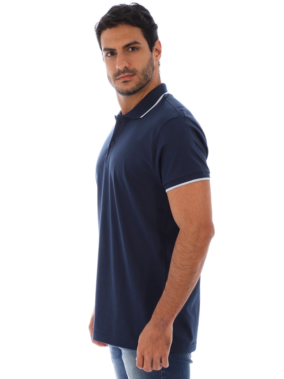 Camisa Polo Masculina Lisa Com Punho Filete Azul Marinho