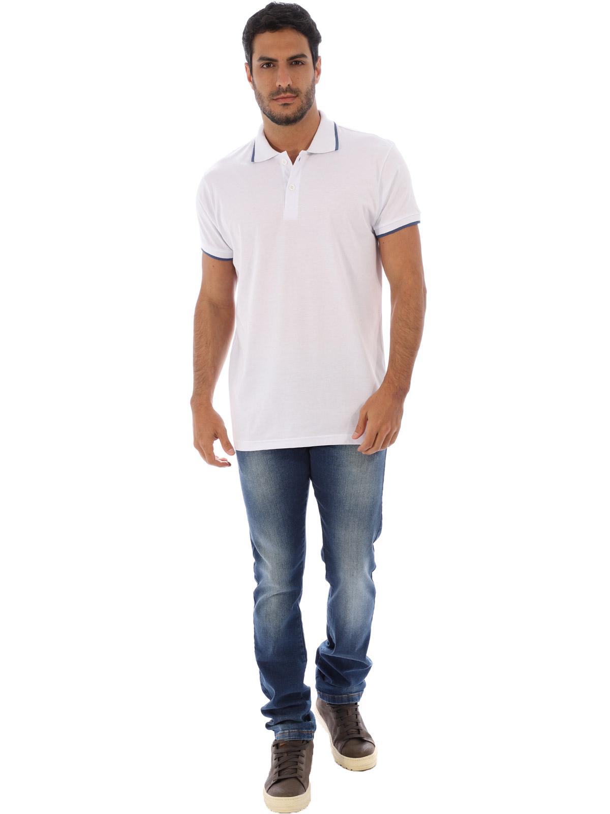 Camisa Polo Masculina Lisa Com Punho Filete Branca