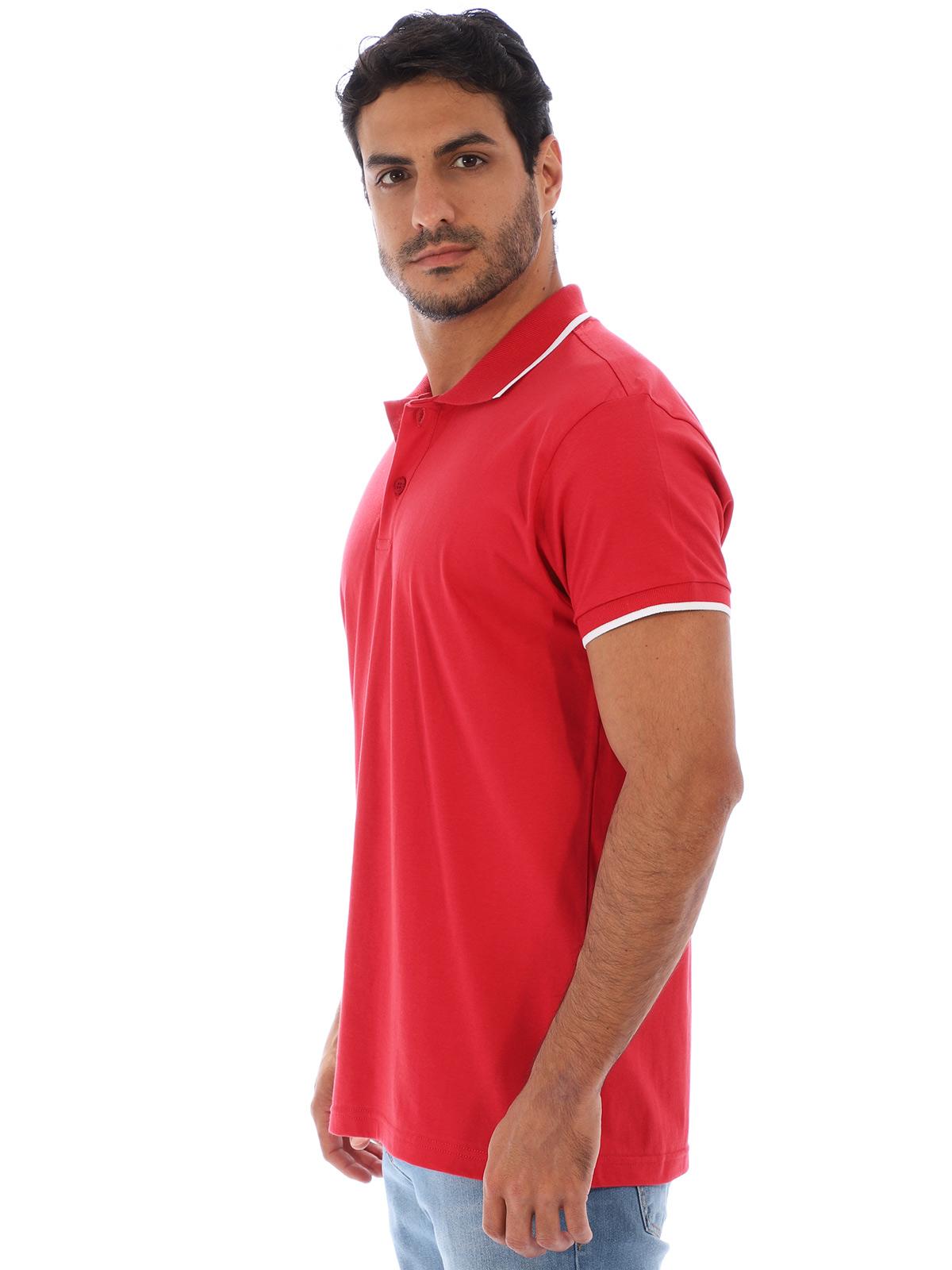 Camisa Polo Masculina Lisa Com Punho Filete Vermelha