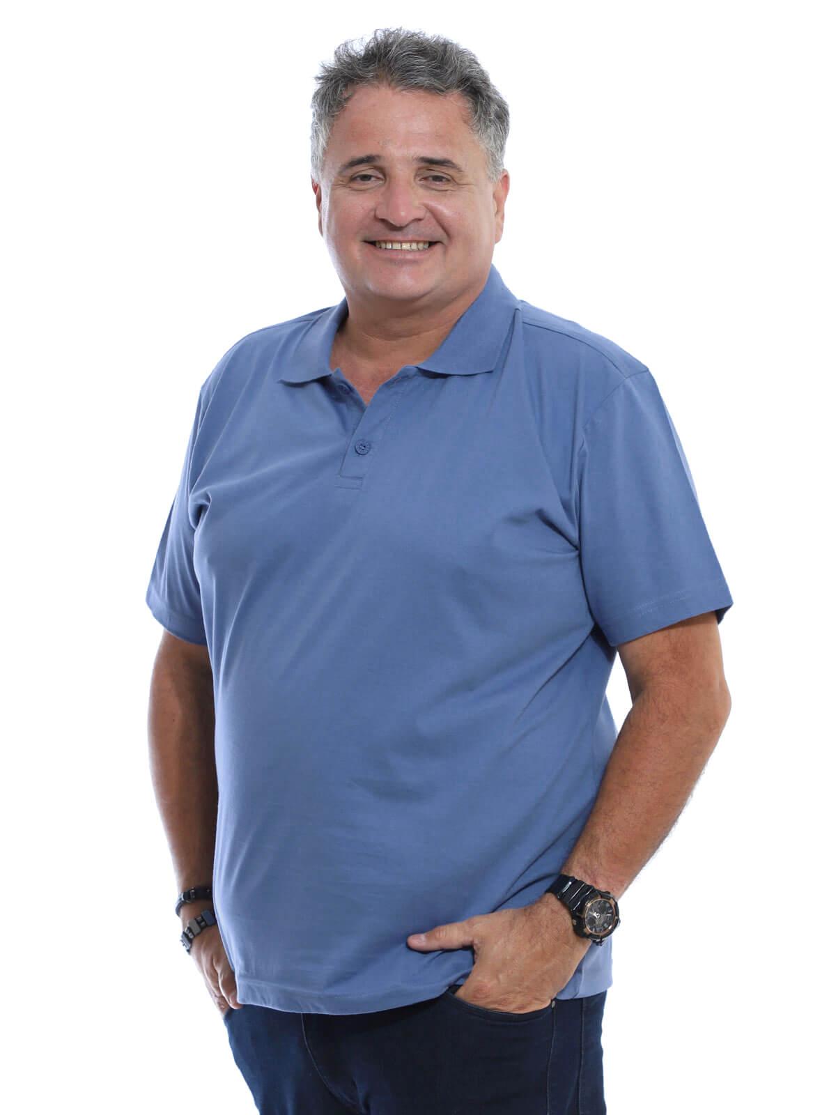 Camisa Polo Plus Size Masculina Lisa Básica Algodão Azul Indigo