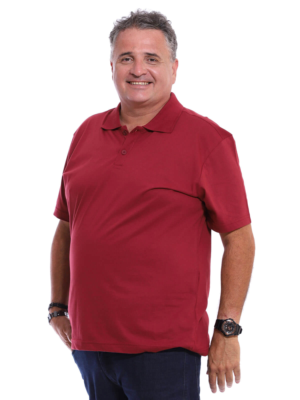 Camisa Polo Plus Size Básica Bordo