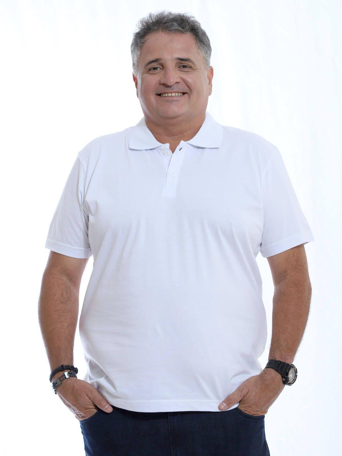 Camisa Polo Plus Size Básica Branca