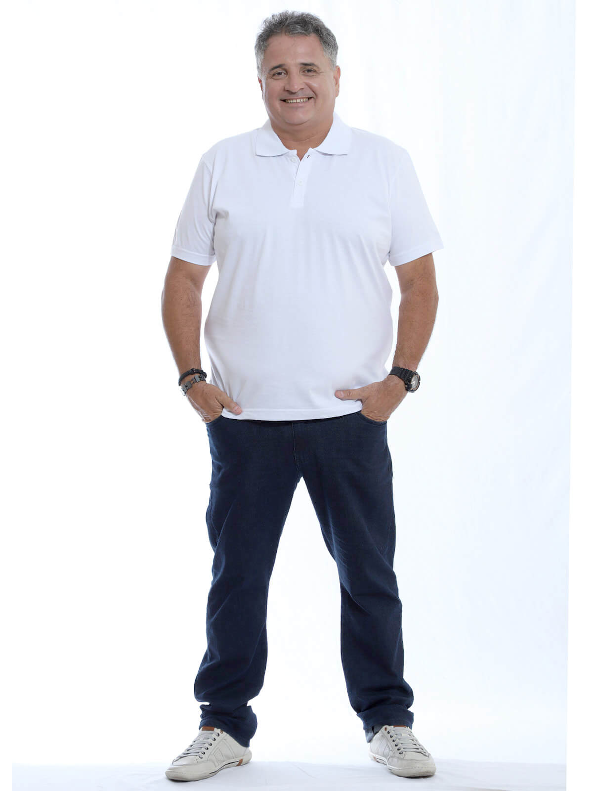 Camisa Polo Plus Size Masculina Lisa Básica Algodão Branca