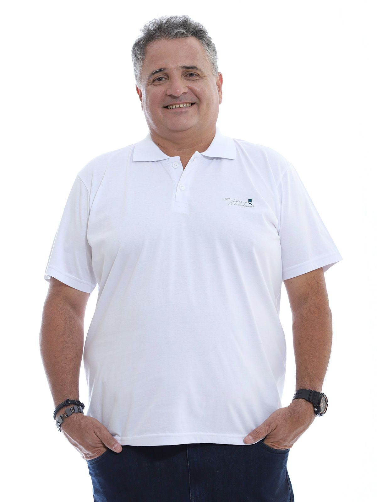 Camisa Polo Plus Size Bordado Branco