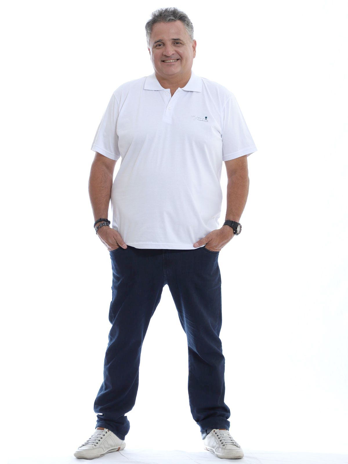 Camisa Polo Plus Size Bordado Branco