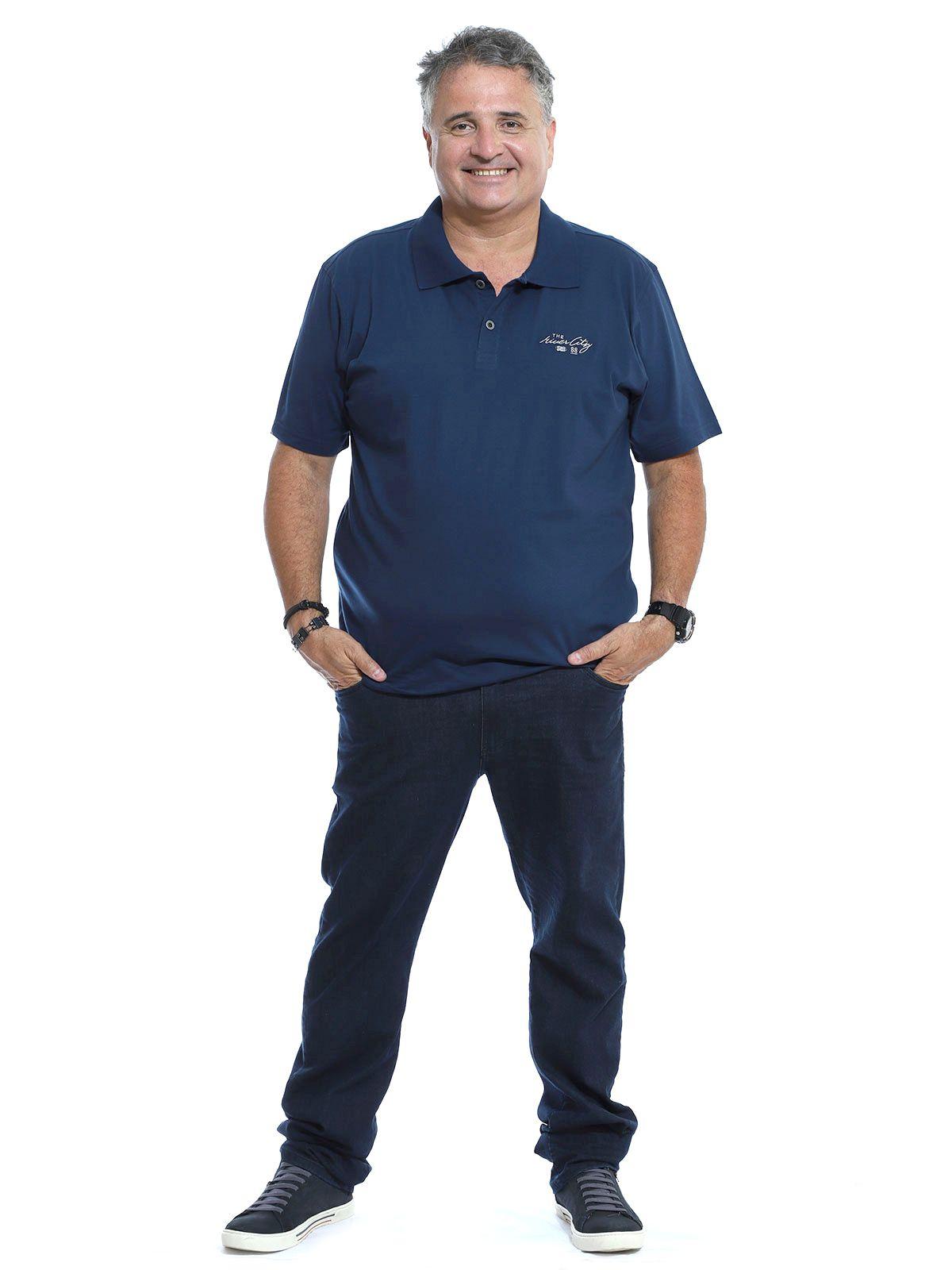 Camisa Polo Plus Size Bordado com Placa Marinho
