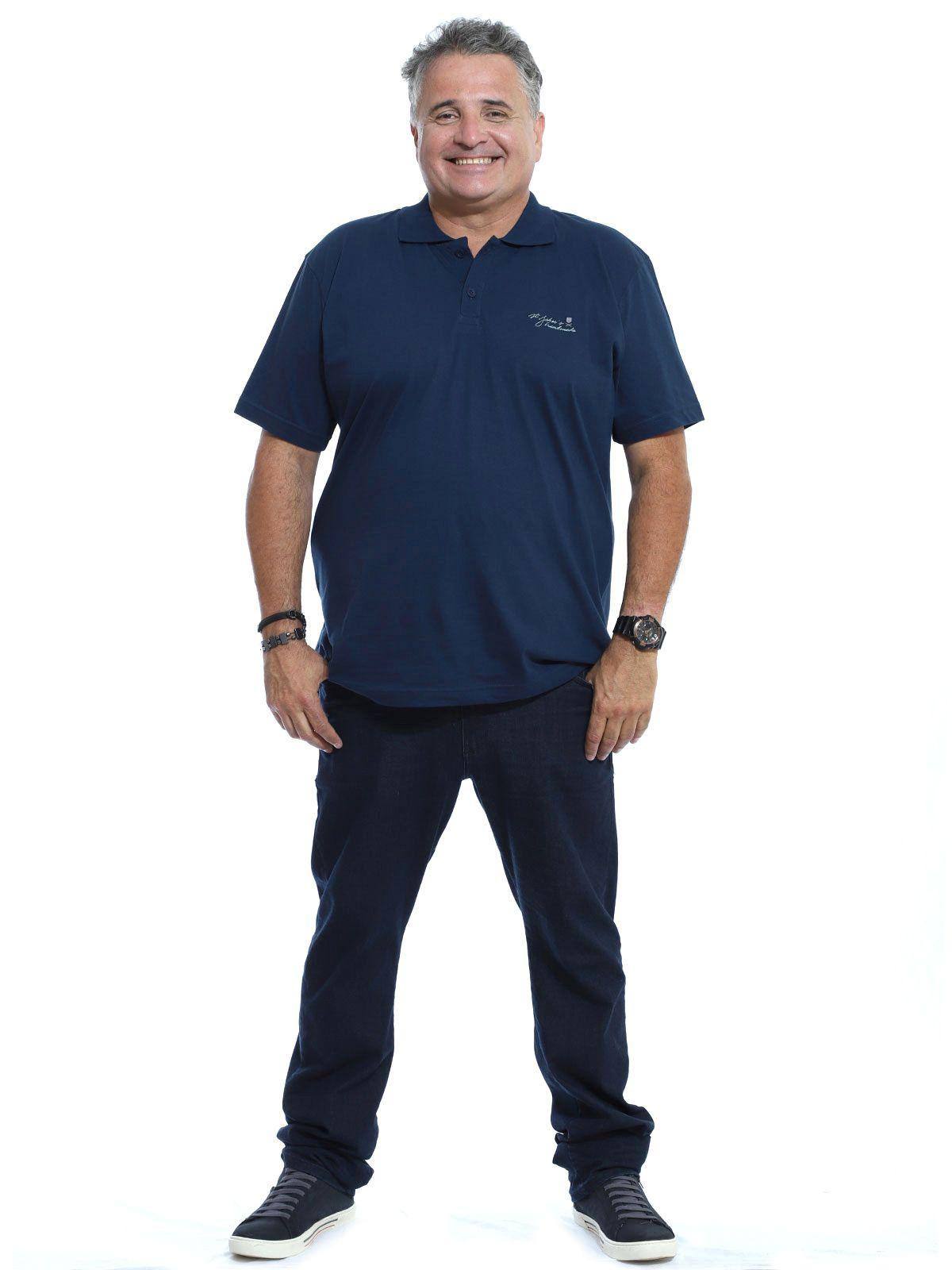 Camisa Polo Plus Size Bordado Marinho