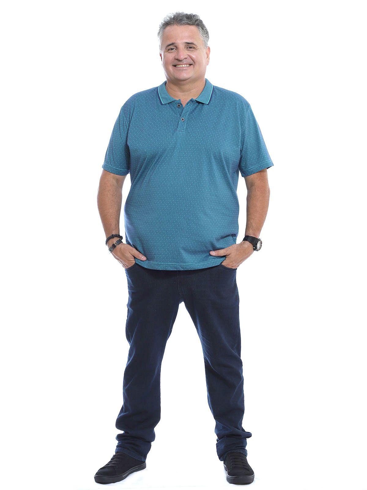 Camisa Polo Plus Size Jacquard Regente Azul Jeans
