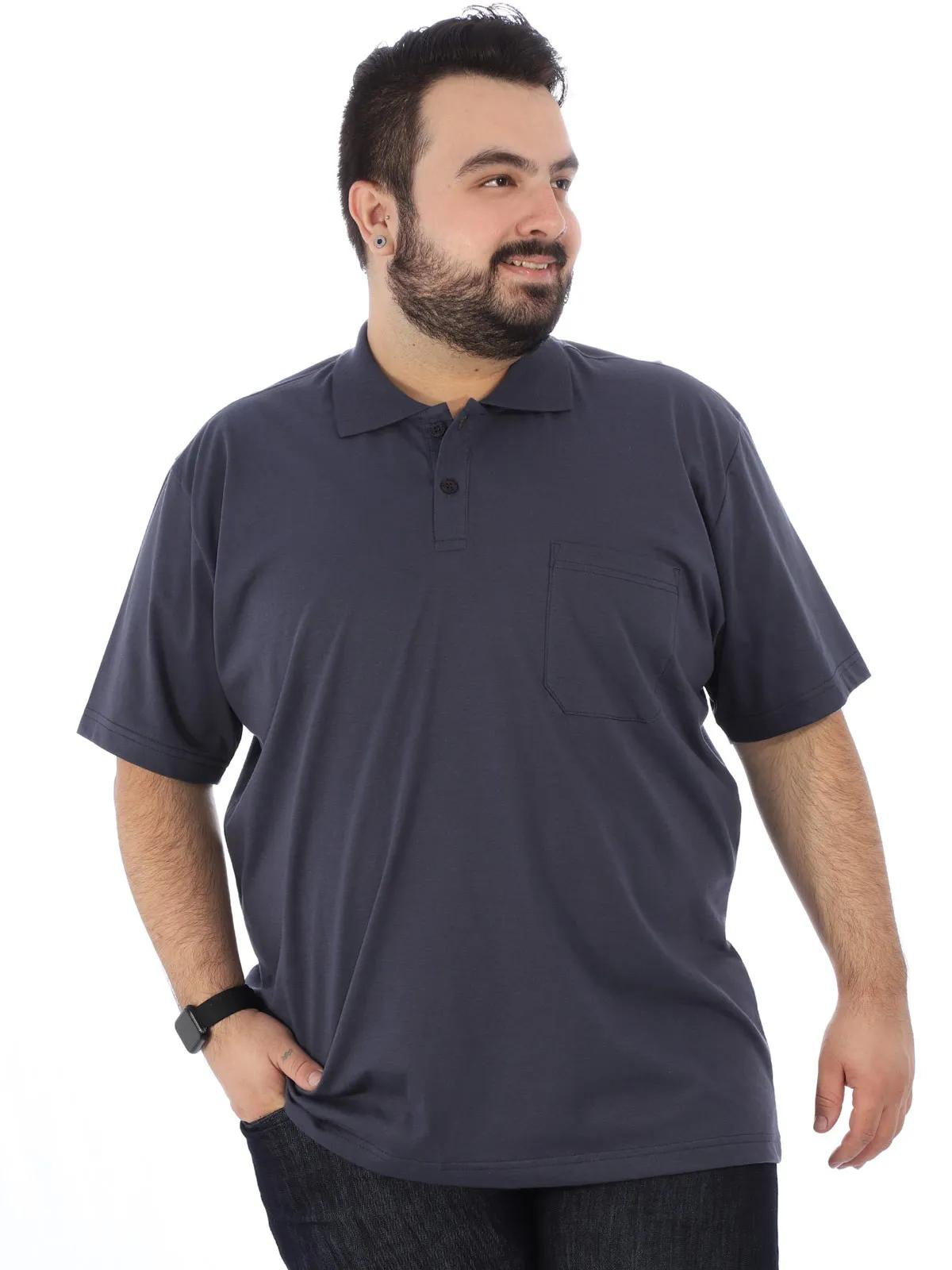 Camisa Polo Plus Size Masculina Básica C/ Bolso Grafite