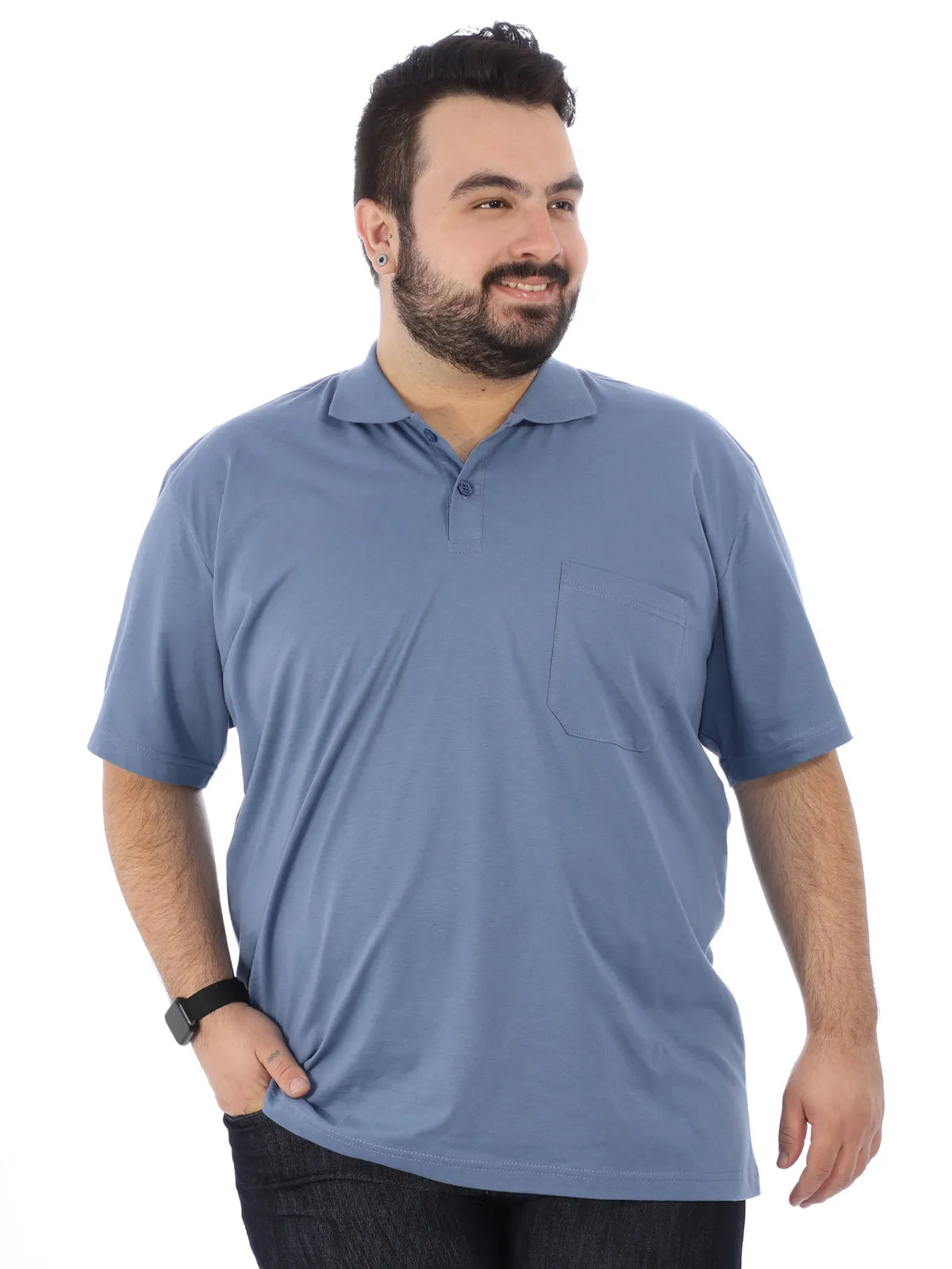 Camisa Polo Plus Size Masculina Básica C/ Bolso Indigo