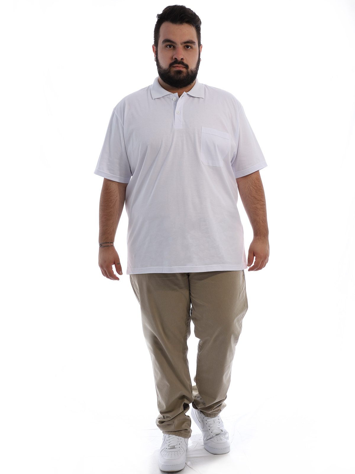 Camisa Polo Plus Size Masculina com Bolso Basica Branca