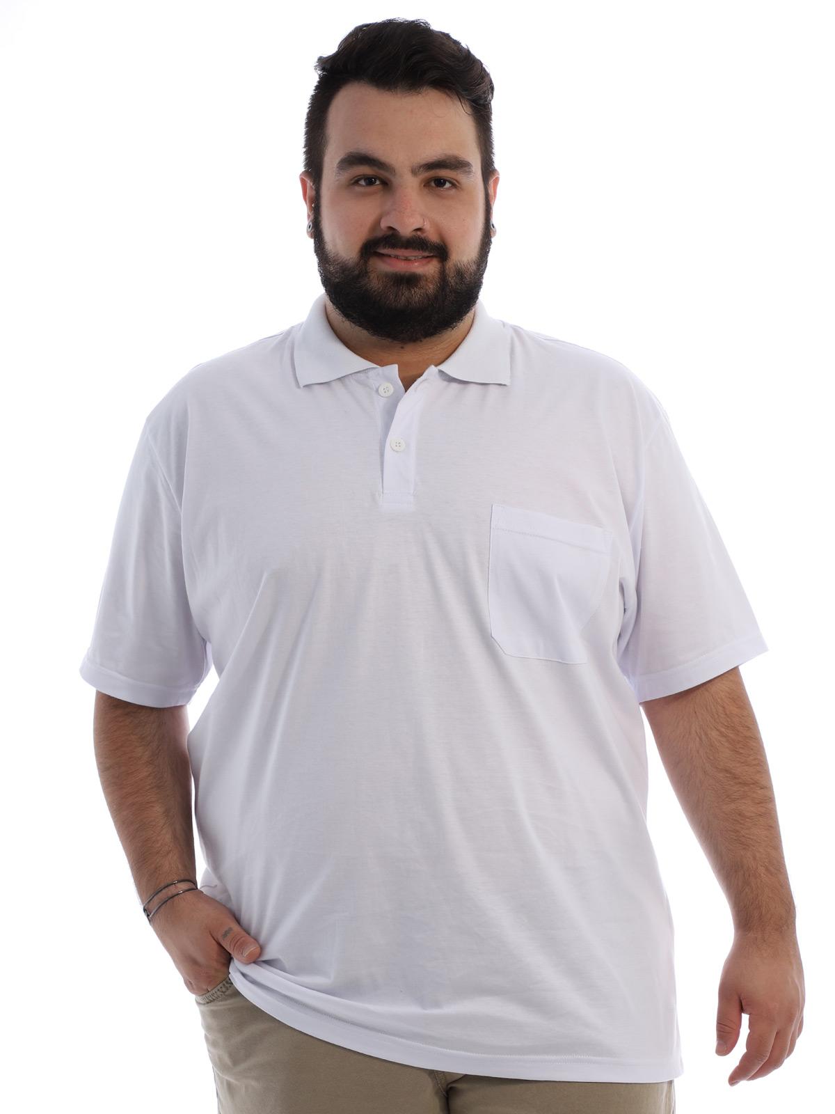 Camisa Polo Plus Size Masculina com Bolso Basica Branco