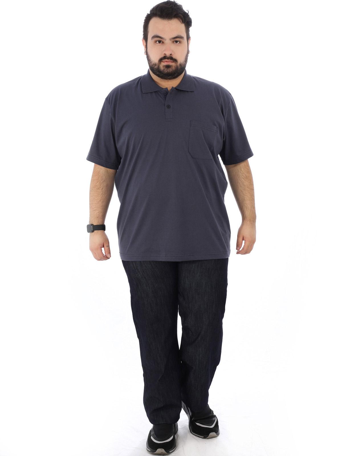 Camisa Polo Plus Size Masculina com Bolso Basica Grafite