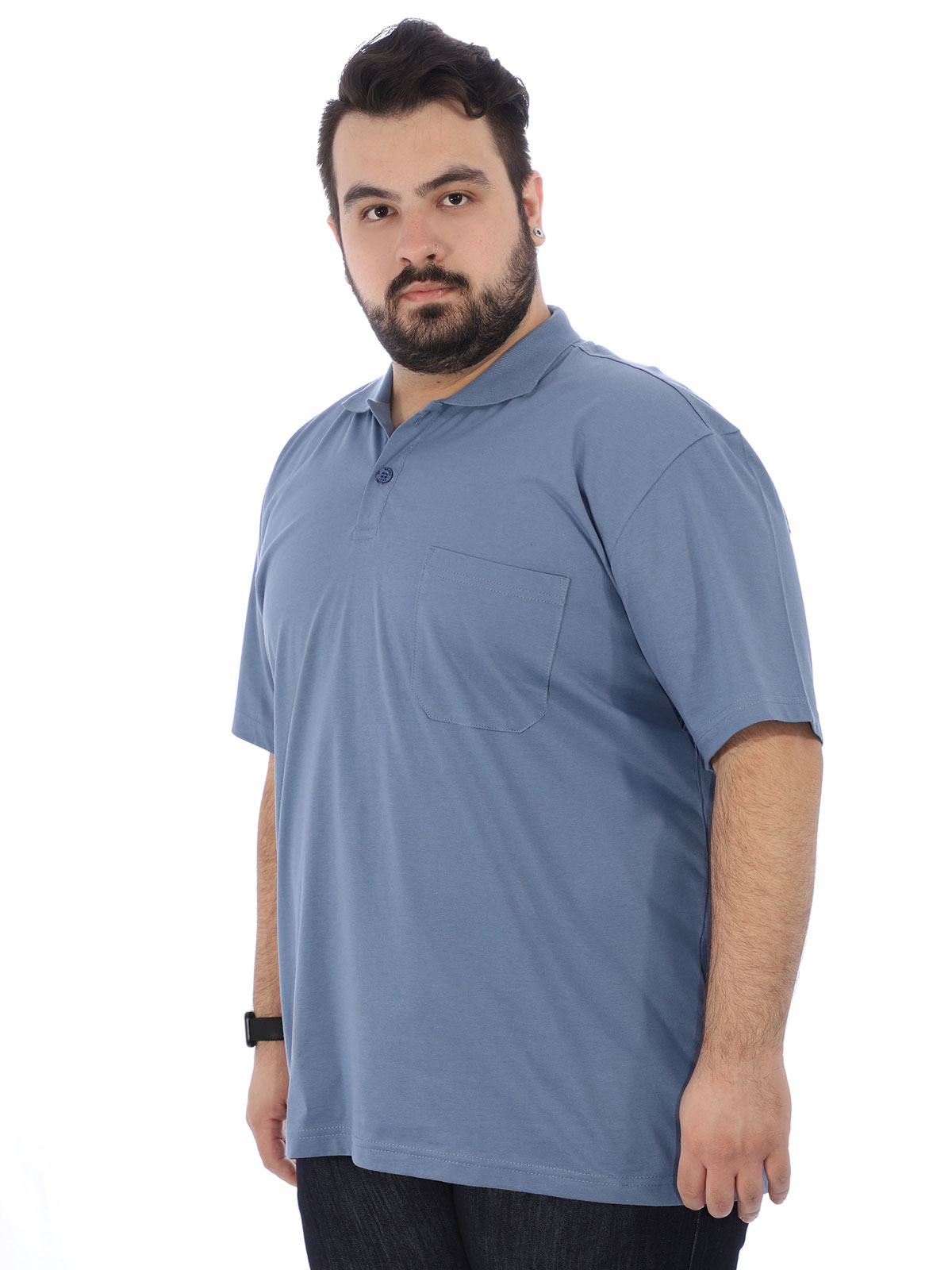 Camisa Polo Plus Size Masculina com Bolso Basica Indigo
