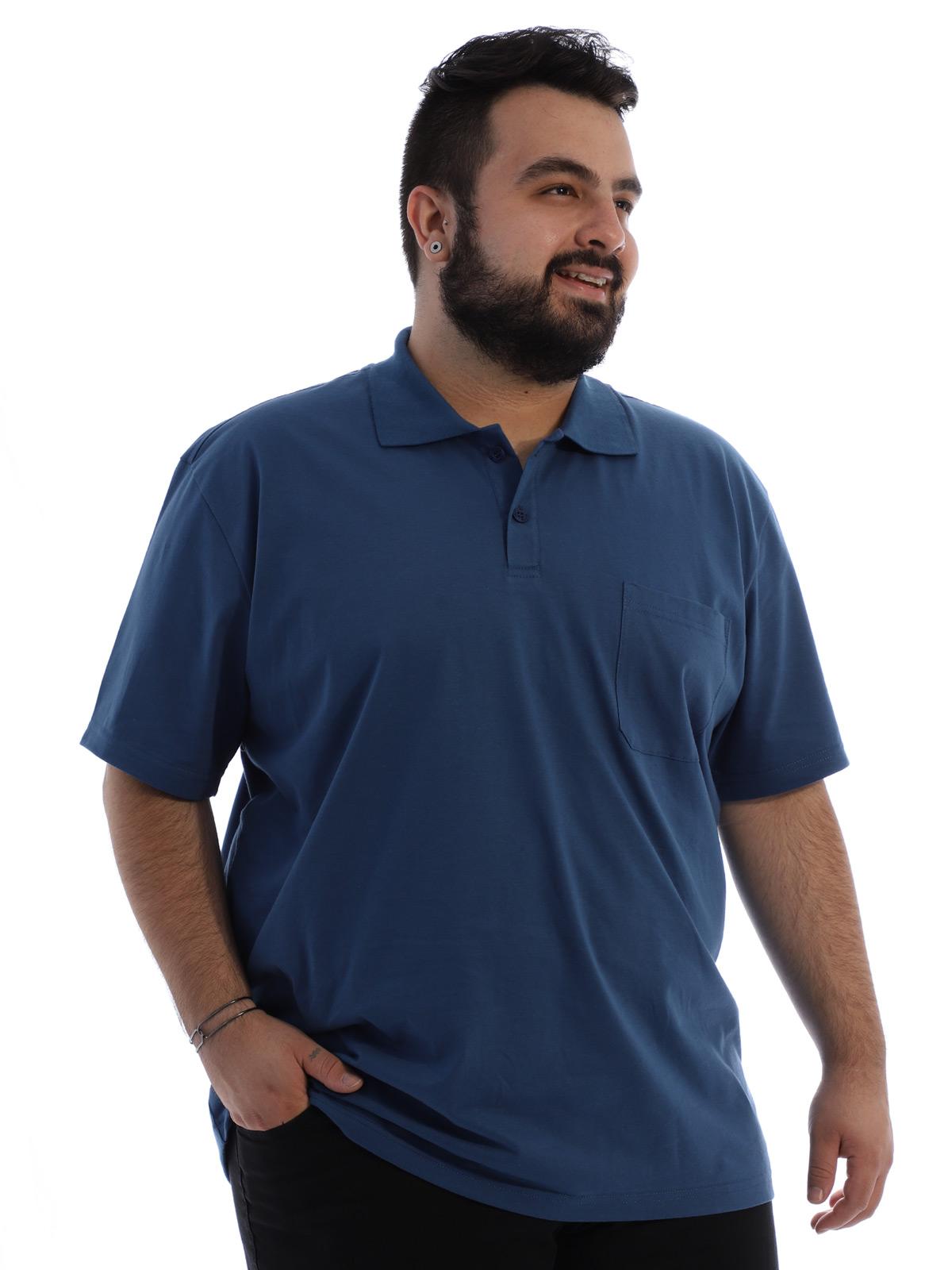 Camisa Polo Plus Size Masculina com Bolso Basica Jeans