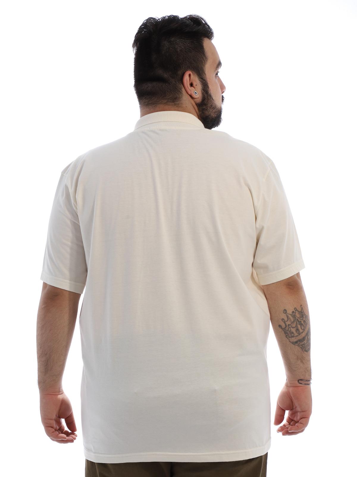 Camisa Polo Plus Size Masculina com Bolso Basica Marfim