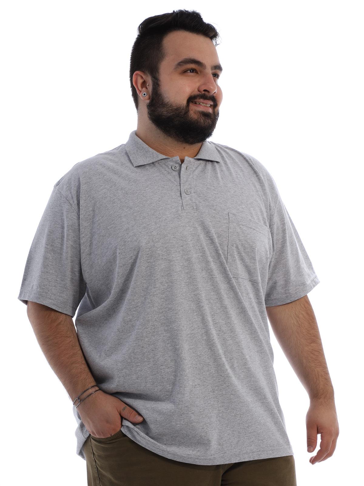 Camisa Polo Plus Size Masculina com Bolso Basica Mescla