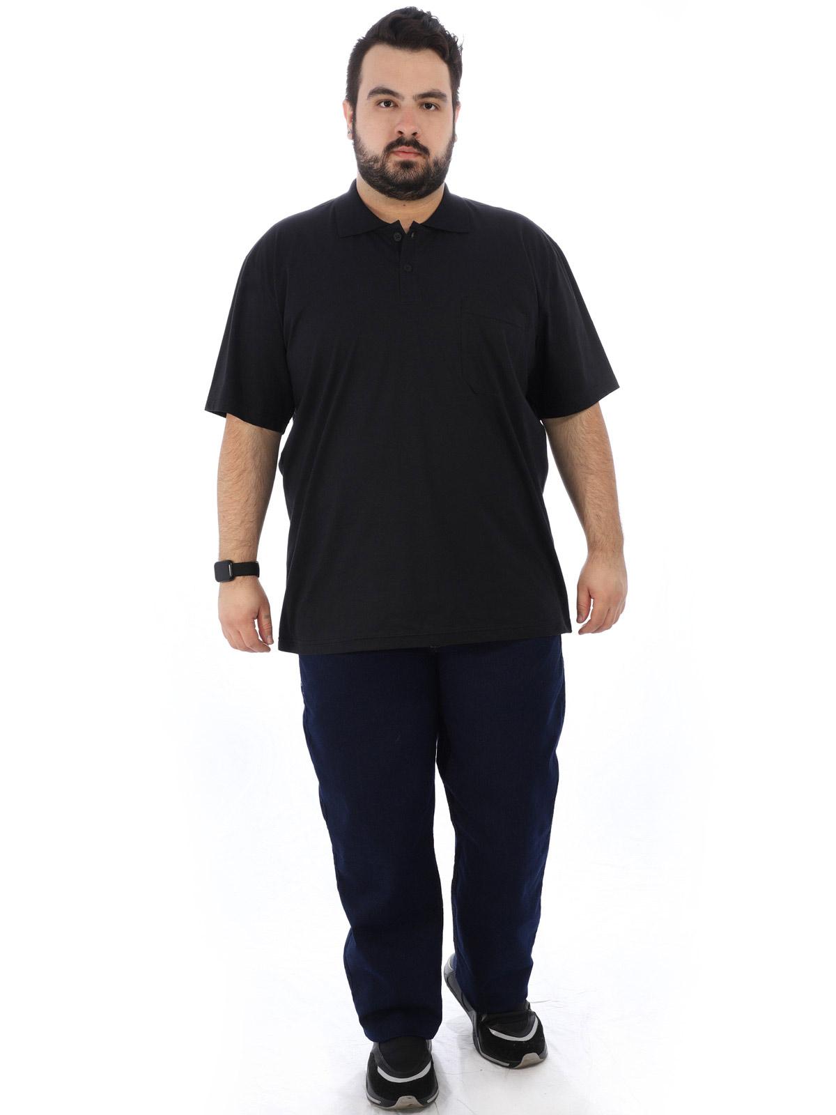 Camisa Polo Plus Size Masculina com Bolso Basica Preta