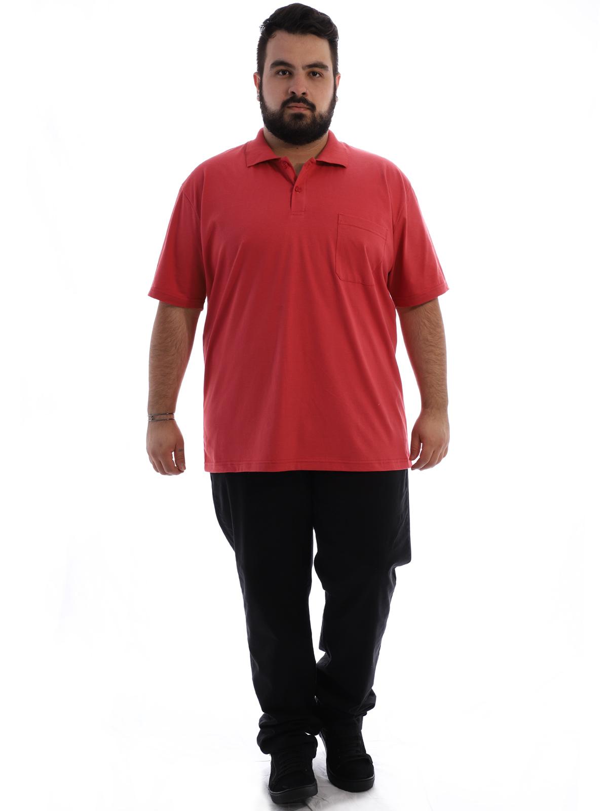 Camisa Polo Plus Size Masculina com Bolso Basica Vermelho Forte