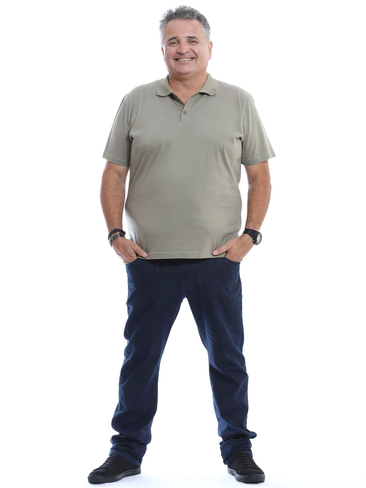 Camisa Polo Plus Size Masculina Lisa Básica Algodão Bambu