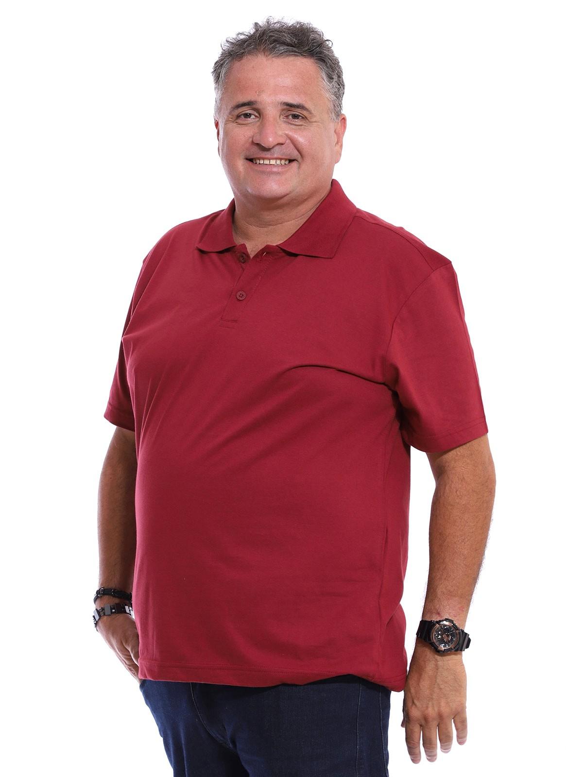 Camisa Polo Plus Size Masculina Lisa Básica Algodão Bordo