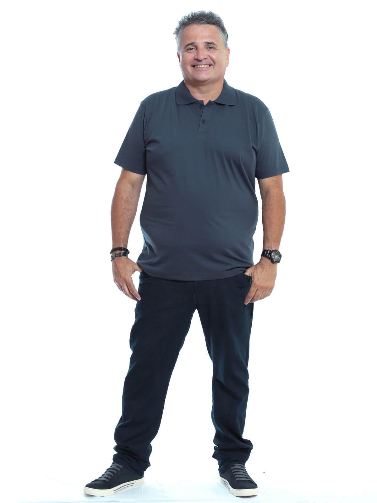 Camisa Polo Plus Size Masculina Lisa Básica Algodão Grafite