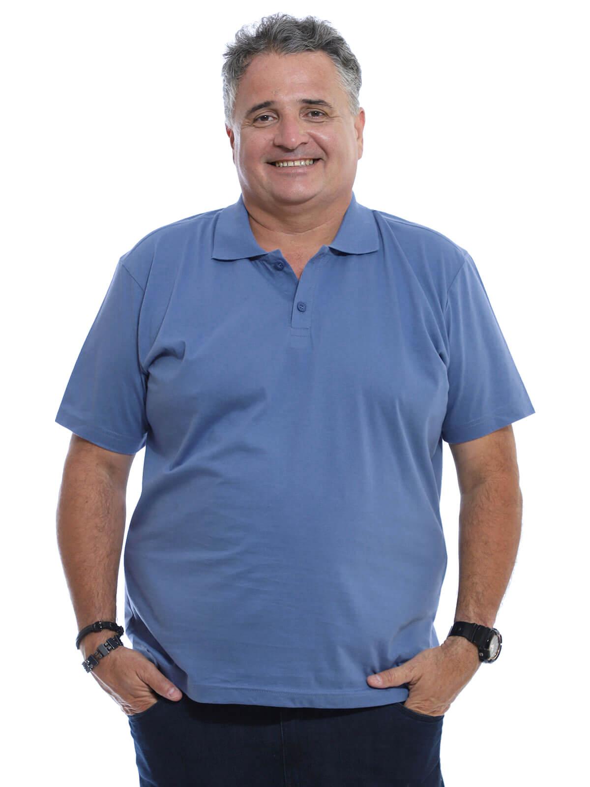 Camisa Polo Plus Size Masculina Lisa Básica Algodão Indigo