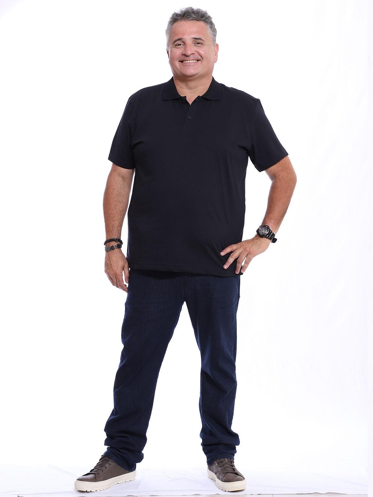 Camisa Polo Plus Size Masculina Lisa Básica Algodão Preta