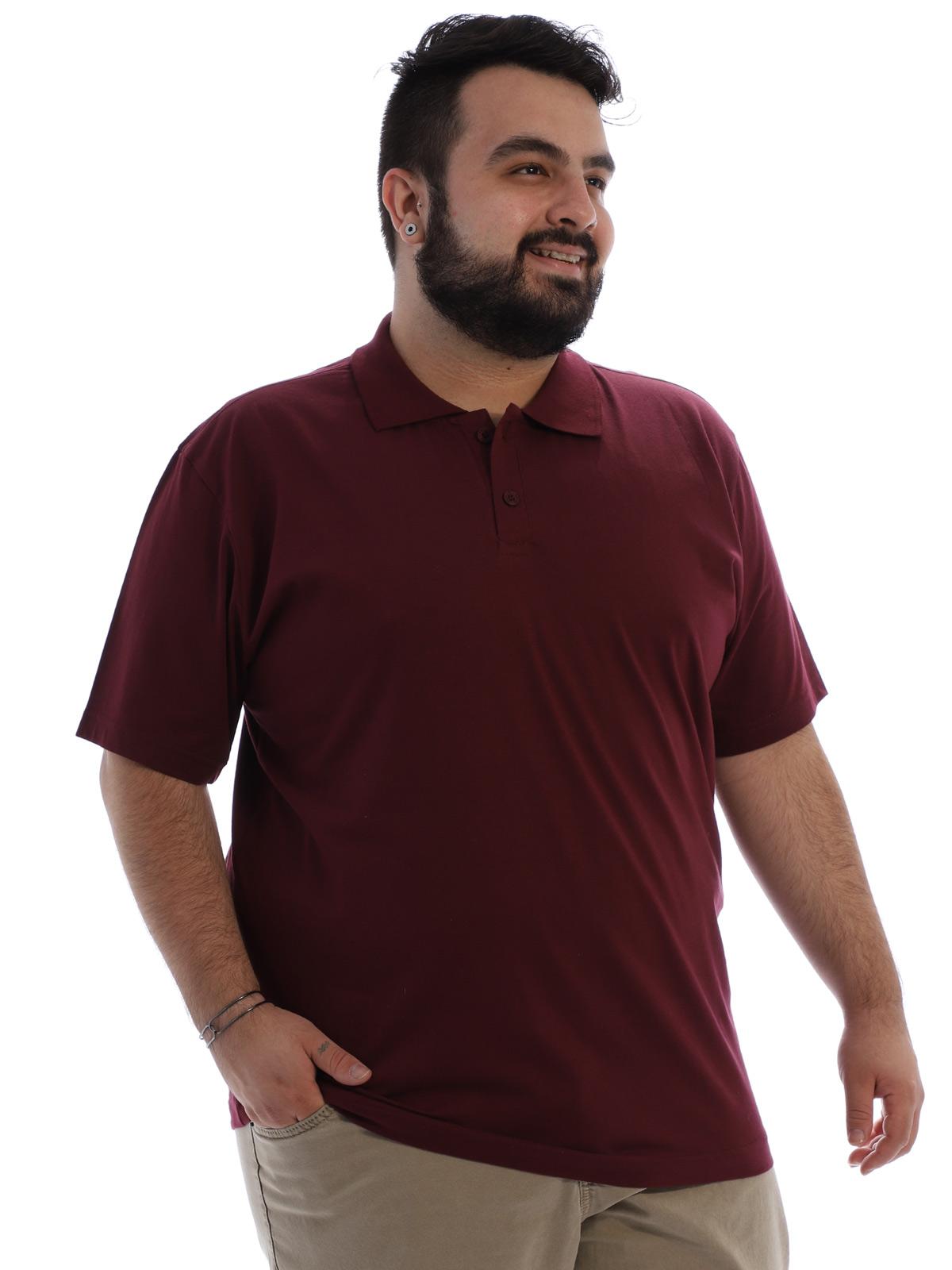 Camisa Polo Plus Size Masculina Lisa Básica Algodão Vinho