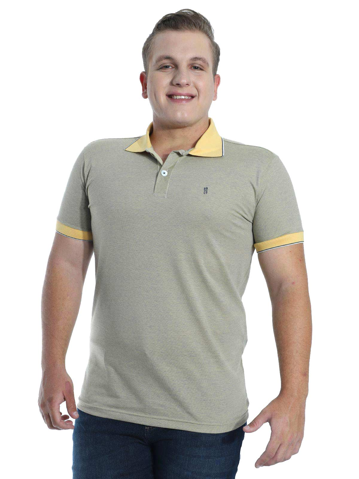 Camisa Polo Slim Fit Jaquard Resort Anistia Amarelo