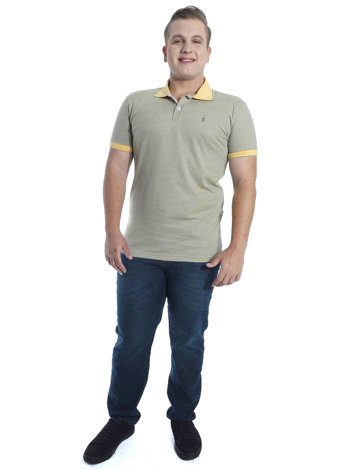 Camisa Polo Slim Fit Jaquard Resort Anistia Amarelo
