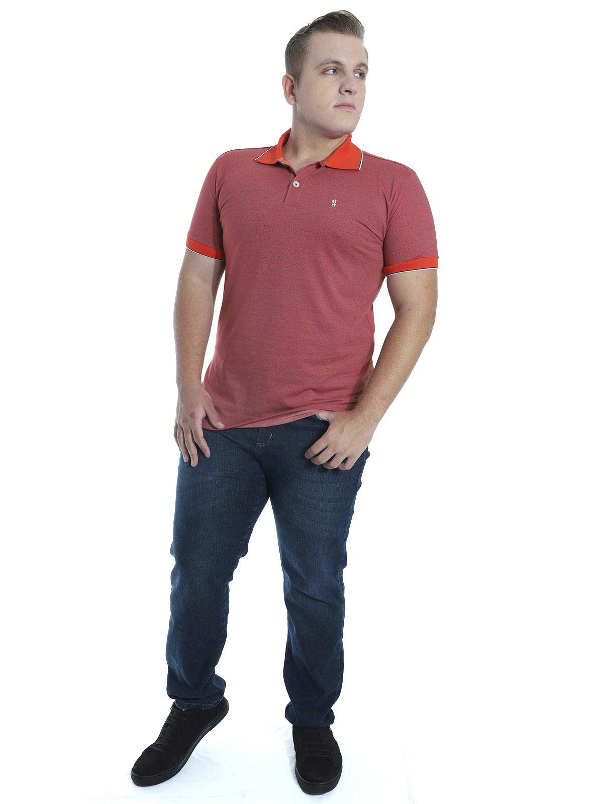 Camisa Polo Slim Fit Jaquard Resort Anistia Vermelho