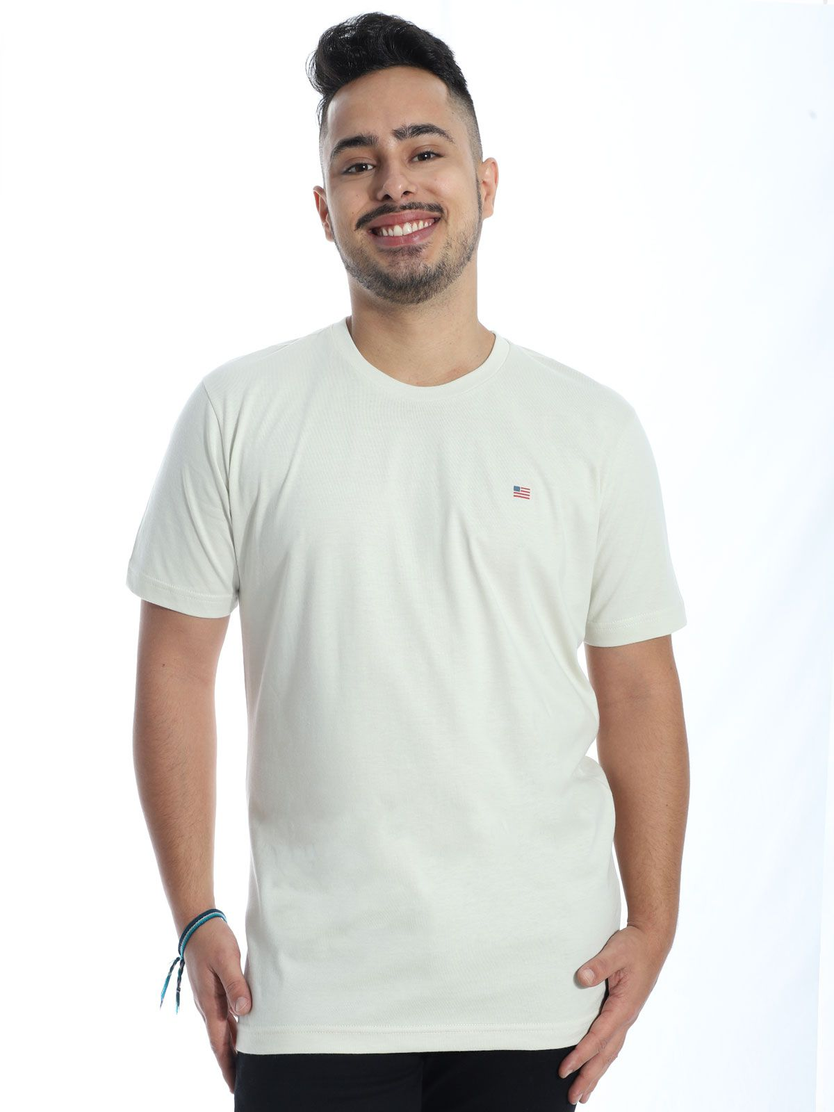 Camiseta Masculina Básica Manga Curta Estampada Areia