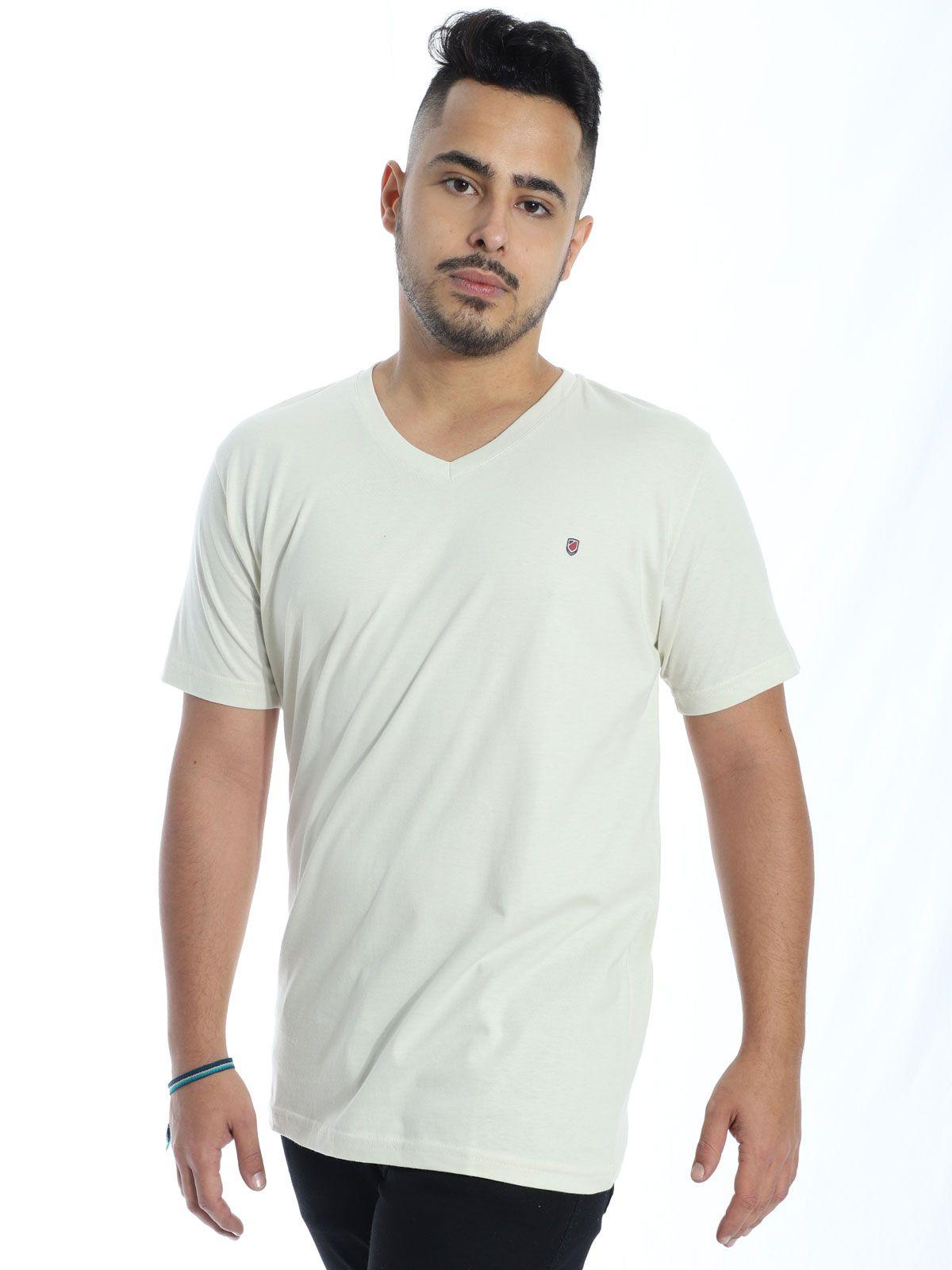 Camiseta Anistia Básica Decote V. Chest Areia