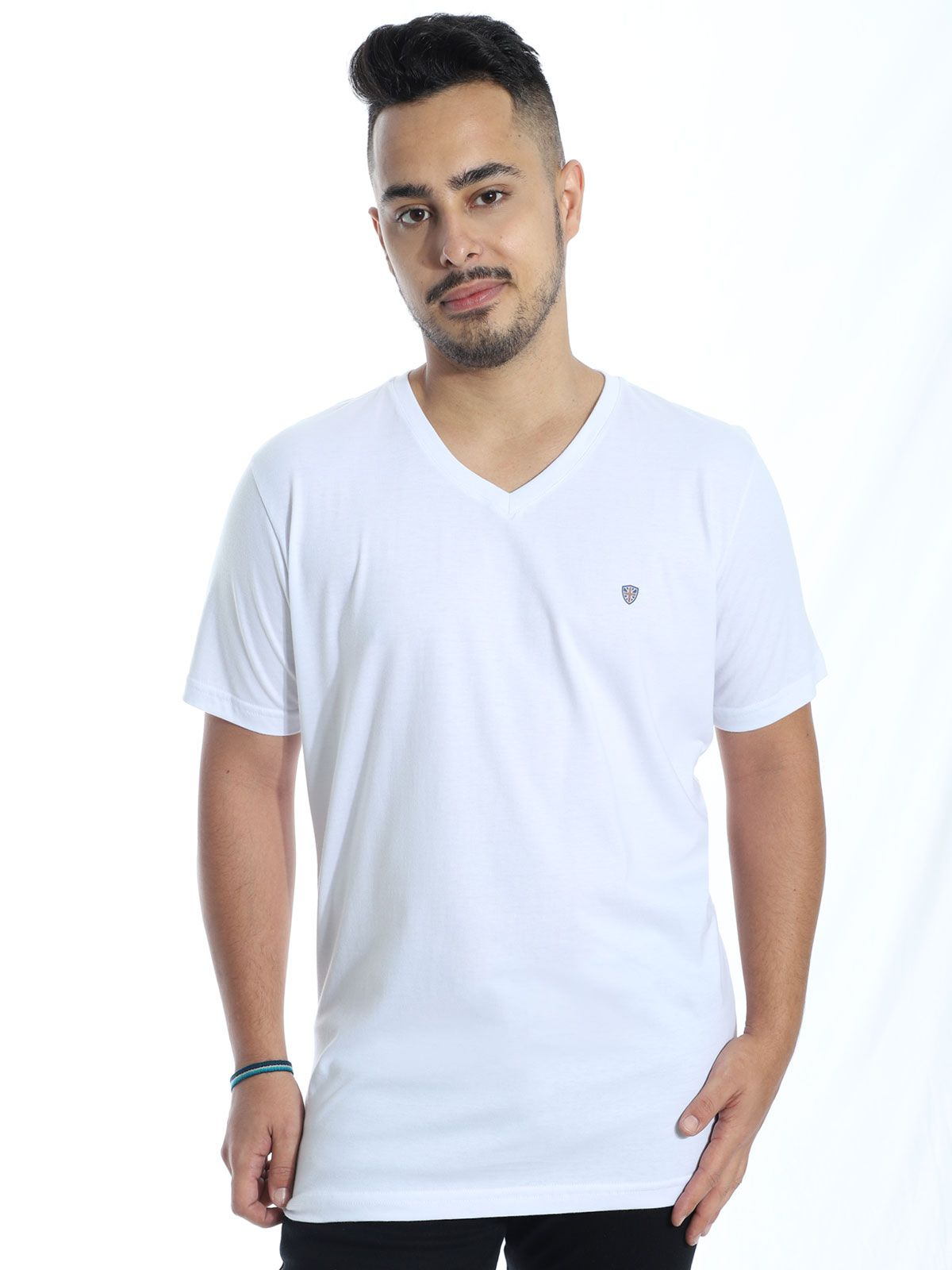 Camiseta Masculina Básica Decote V. Estampada Kingdom Branco