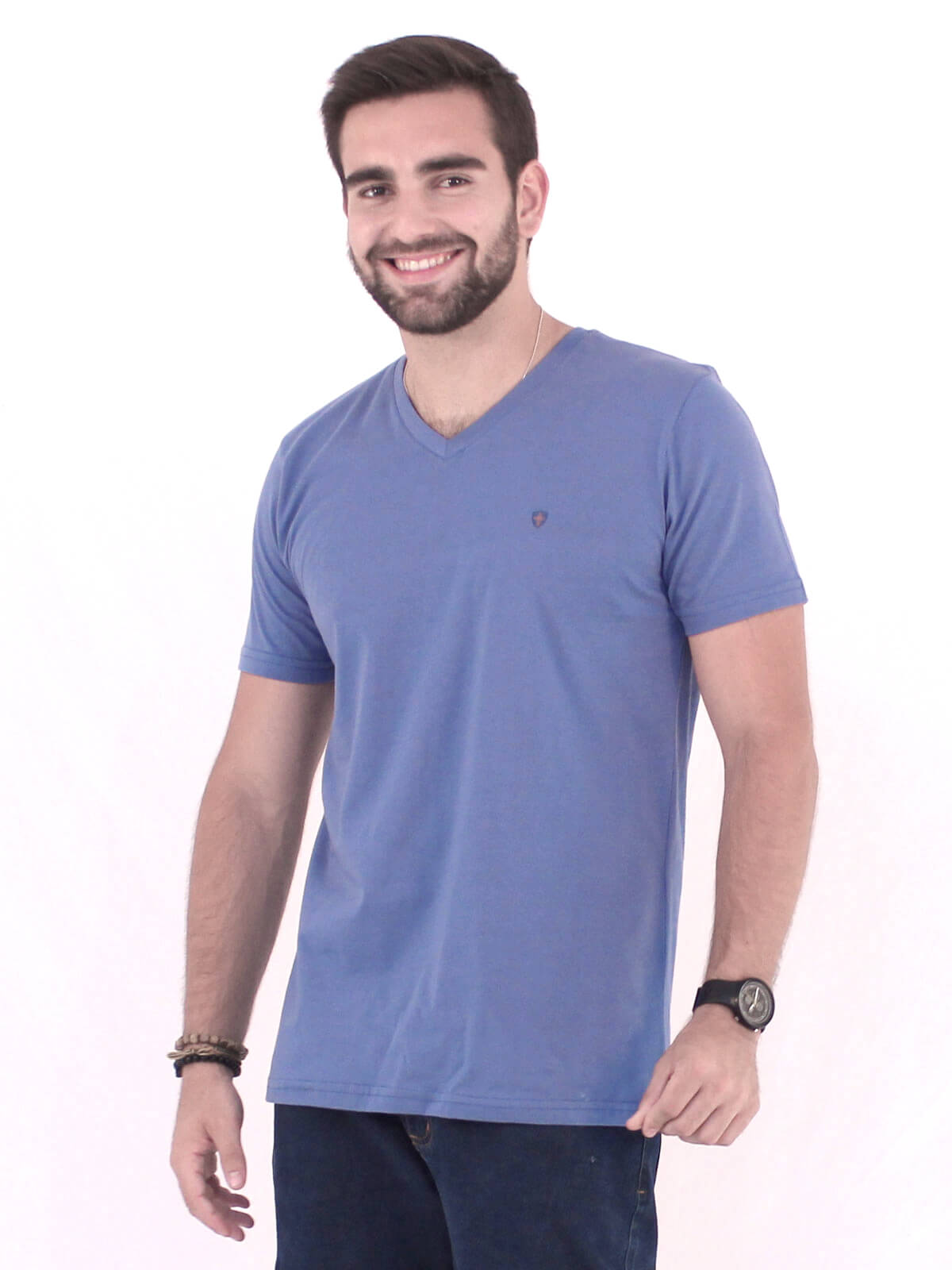 Camiseta Masculina Básica Decote V. Estampada Kingdom Indigo